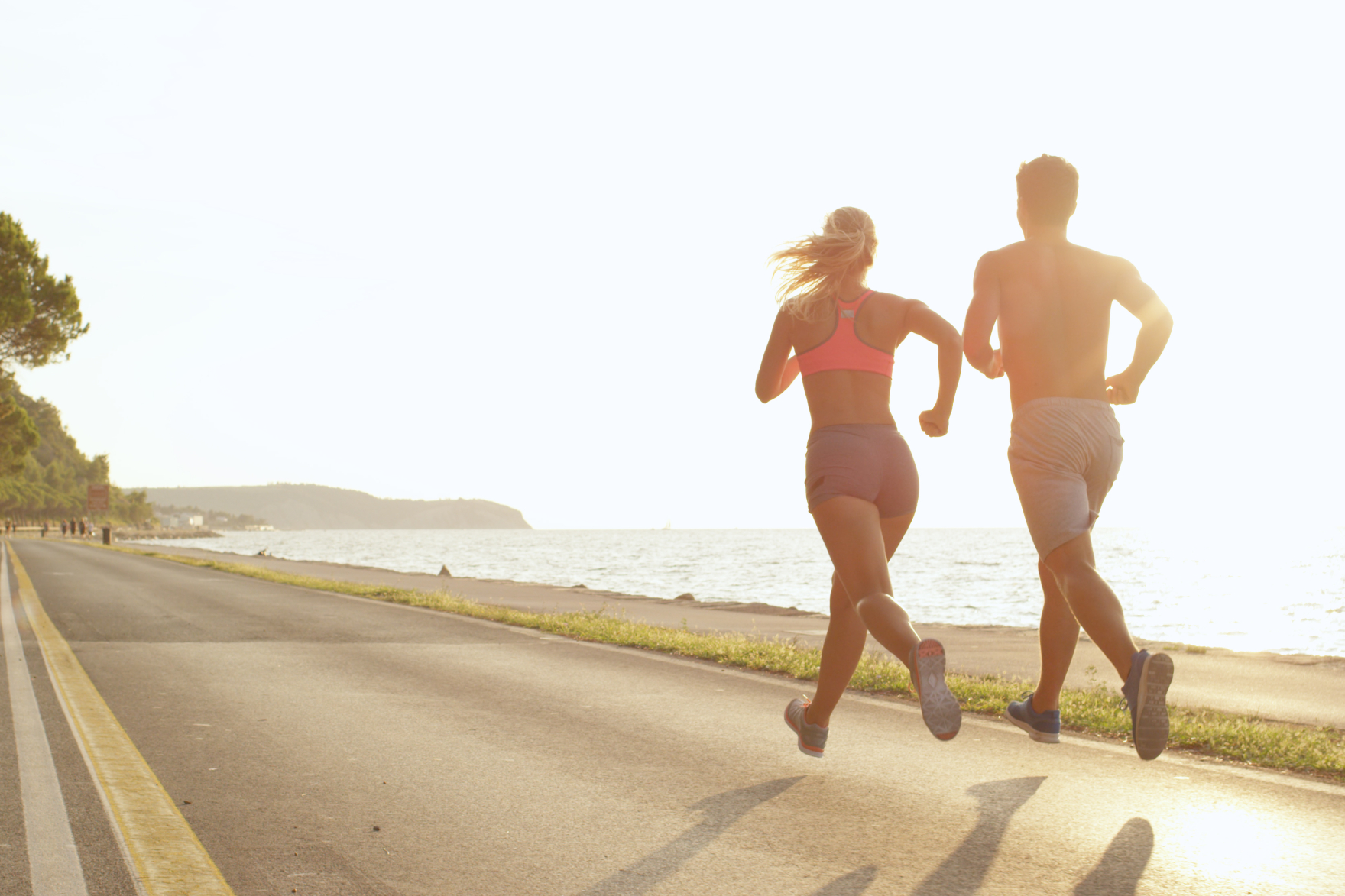 couple jogging after performance IV Therapy