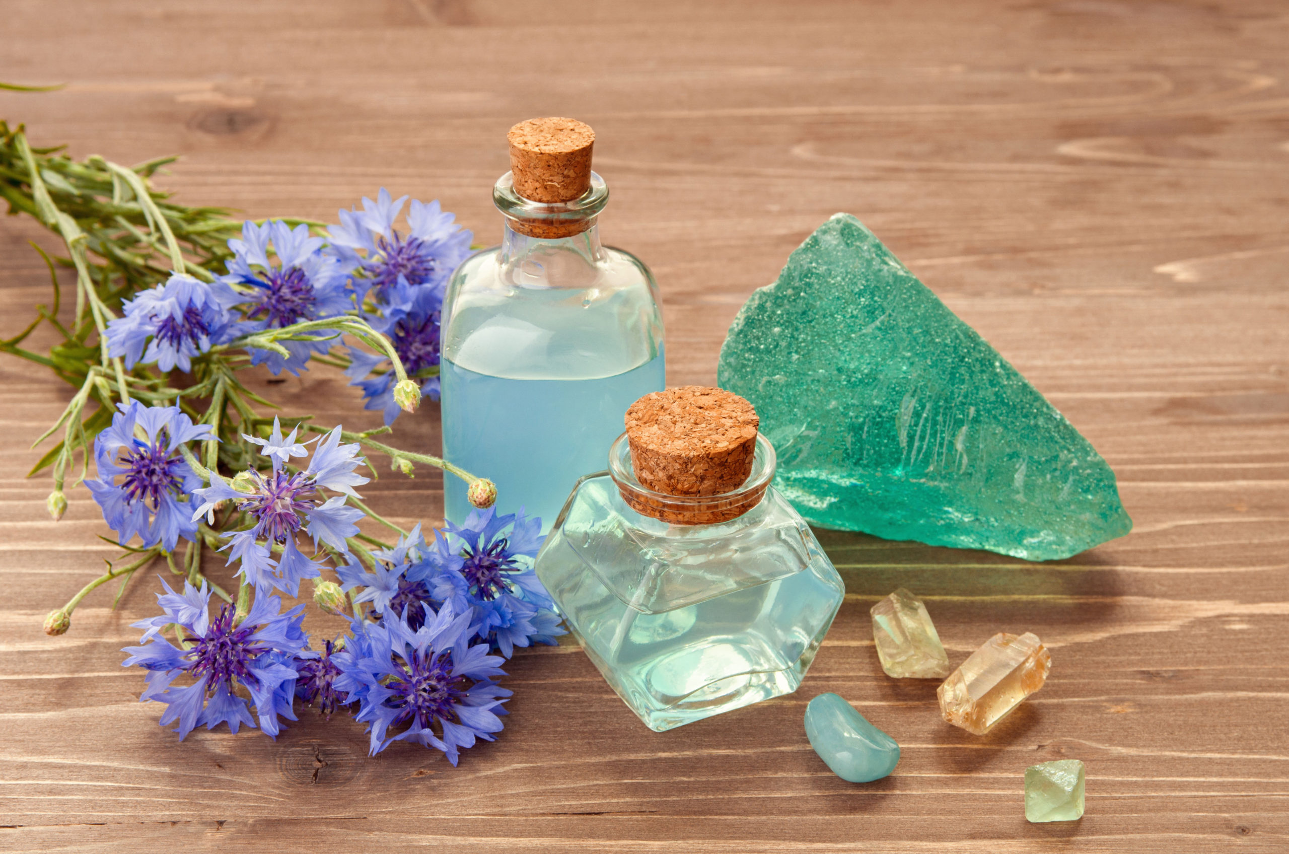 flowers, minerals, and tonics representing mineral blend IV Therapy
