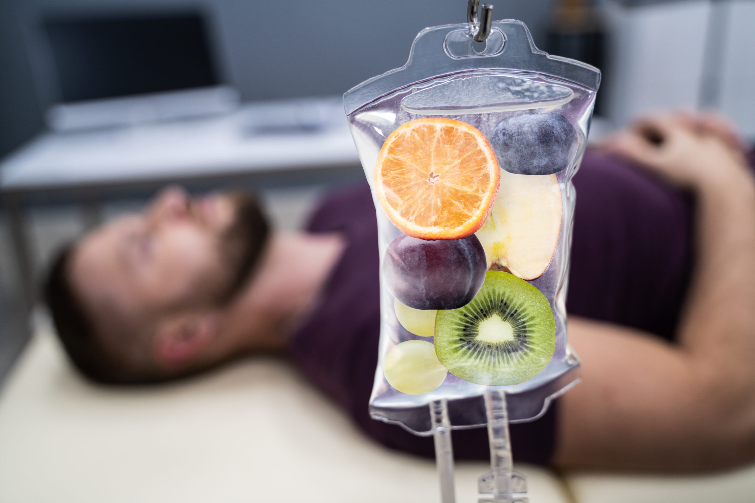 IV drip bag filled with fruit representing quench IV Therapy