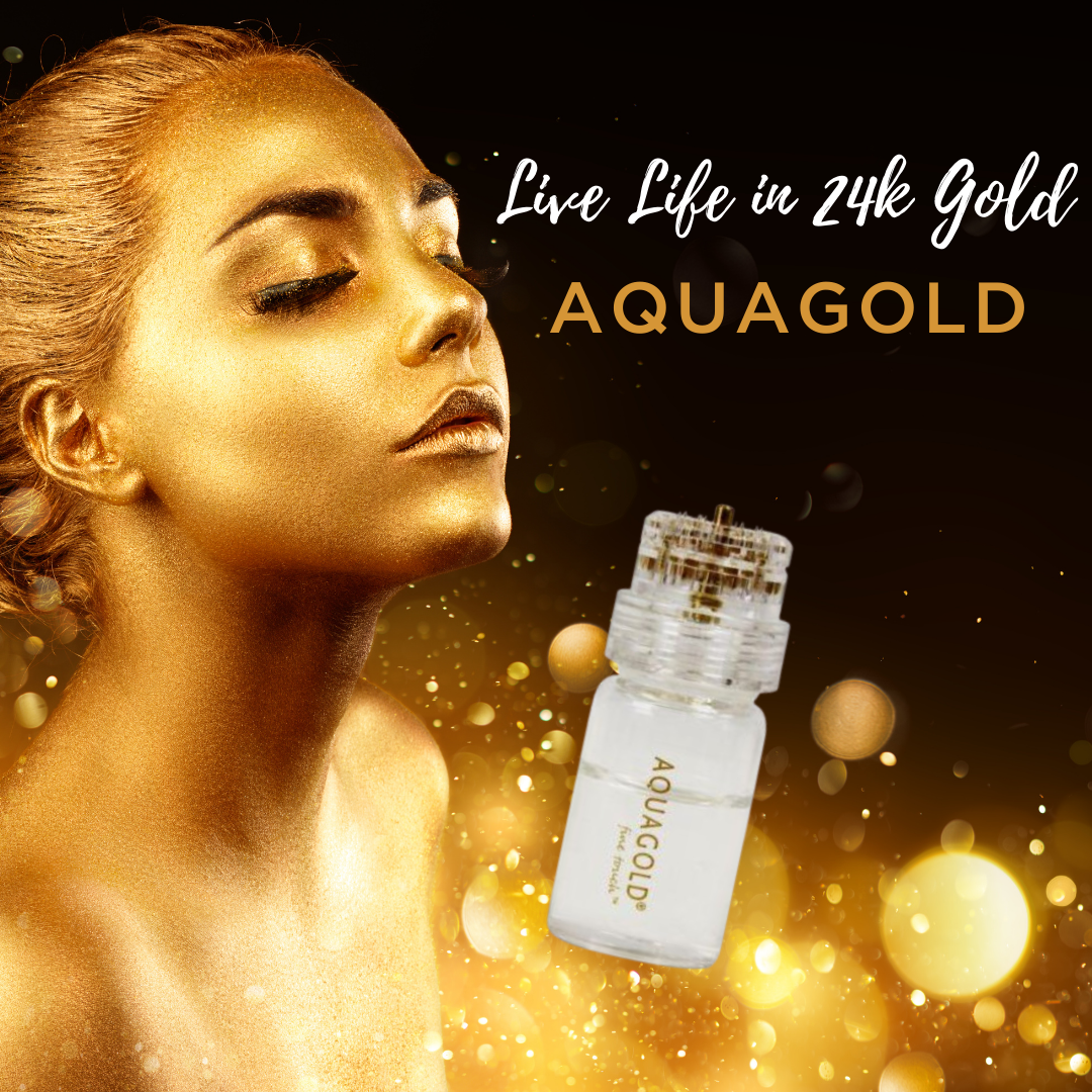 AQUAGOLD® fine touch™ microinjector device superimposed over headshot of woman painted gold